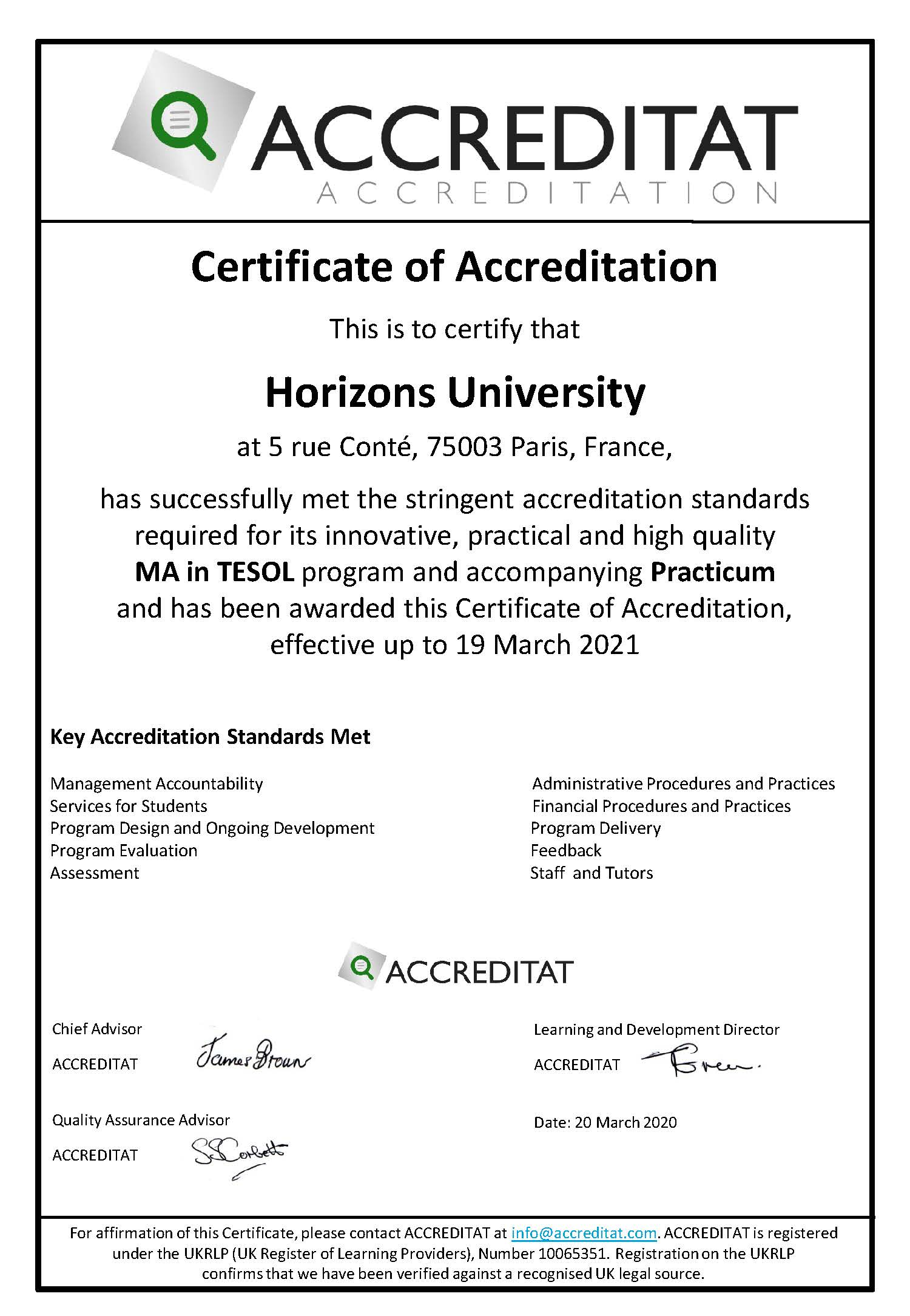 MA in TESOL accredited!